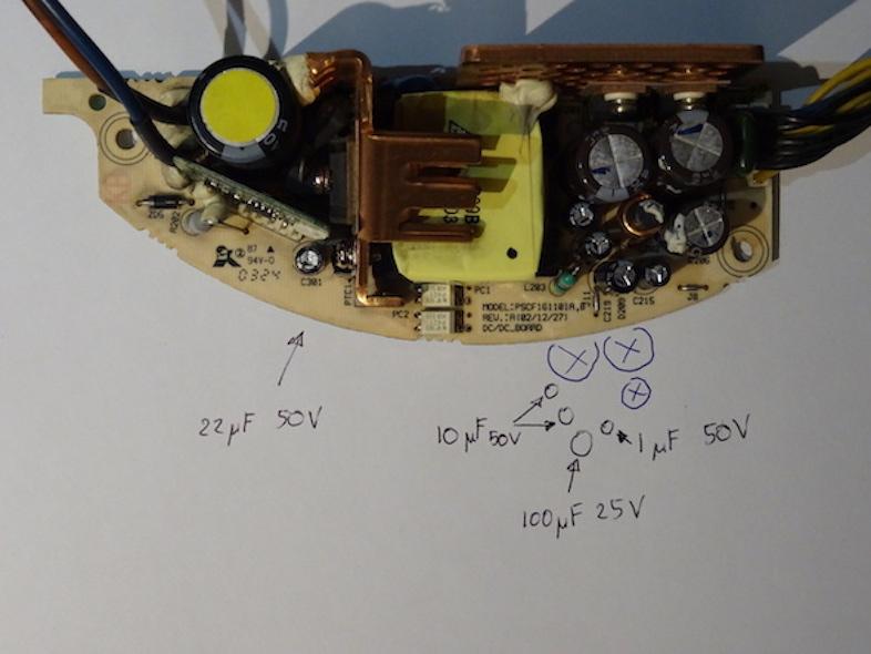PSU : Détails des condensateurs changés